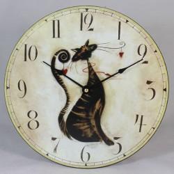 Nástěnné hodiny Kočka 17 cm