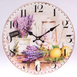 Dřevěné nástěnné hodiny Levandulové zátiší 34 cm