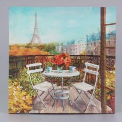 Obraz na plátně Posezení pod Eiffelovkou 38 cm