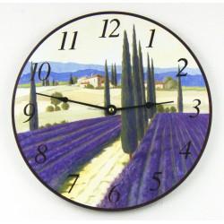 Nástěnné hodiny Levandulový lán
