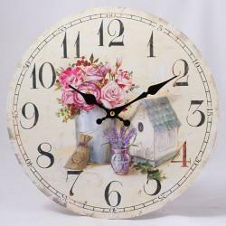 Nástěnné hodiny Kytice a domeček 34 cm