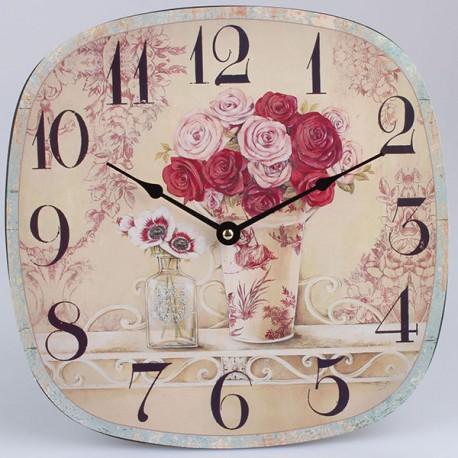 Nástěnné hodiny s růžemi 30 cm