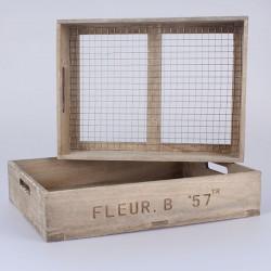 Dřevěná přepravka s pletivem Fleur B - 2 ks 43 cm a 40 cm