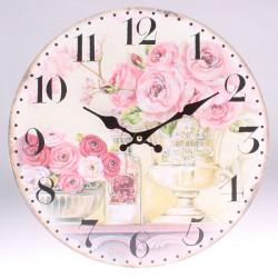 Nástěnné hodiny Kytice růží ve váze 34 cm
