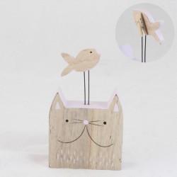 Stojánek na vizitky Kočka s rybou 15 cm, bílá