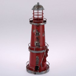 Kovový svícen Maják 32 cm, červený