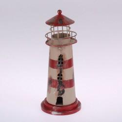 Kovový svícen Maják 22 cm, bílý s červenou