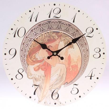 Nástěnné hodiny Alfons Mucha - Poezie 34 cm
