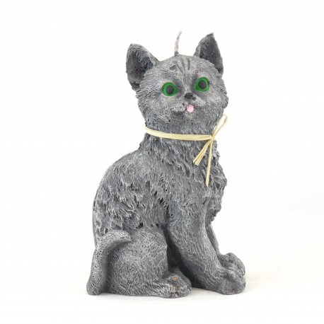 Svíčka Kočka šedá, 17cm
